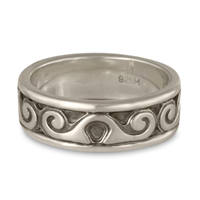 Bordered Ravena Wedding Ring in Sterling Silver