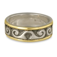 Bordered Ravena Wedding Ring in Sterling Silver Center & Base w 14K Yellow Gold Borders