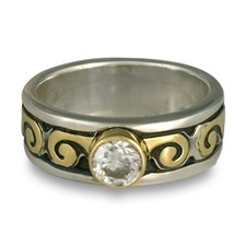 Bordered Ravena Engagement Ring in Sterling Borders/18K Yellow Center/Sterling Base