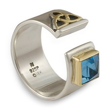Elaine Ring in 18K Yellow Gold Design w Sterling Silver Base