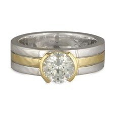 Marcello Engagement Ring in Sterling Silver Borders & Base w 18K Yellow Gold Center