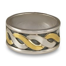 Donegal Wedding Ring in 14K Yellow Gold Design w Sterling Silver Base