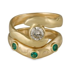 Donegal Twin Bridal Ring Set in 14K Yellow Gold
