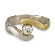 Donegal Eye Engagement Ring in 14K Yellow Gold Design w Sterling Silver Base