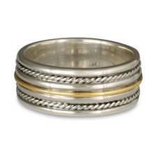 Windsor Twist Ring in Sterling Borders/18K Yellow Center/Sterling Base