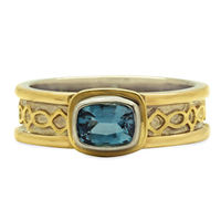 Felicity Aquamarine Ring in 18K Yellow Gold Borders & Design w 14K White Gold Base
