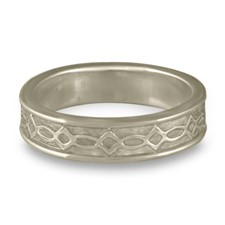 Bordered Felicity Wedding Ring in 14K White Gold