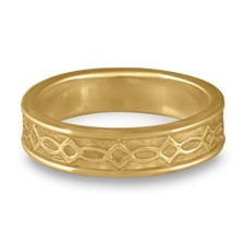 Bordered Felicity Wedding Ring in 14K Yellow Gold
