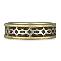 Bordered Felicity Wedding Ring in Sterling Silver Center & Base w 14K Yellow Gold Borders
