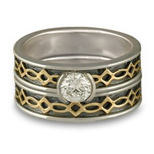 Bordered Felicity Bridal Ring Set in Sterling Silver Borders & Base w 18K Yellow Gold Center