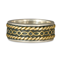Felicity Twist Wedding Ring in 18K Yellow Gold Borders & Center w Sterling Silver Base