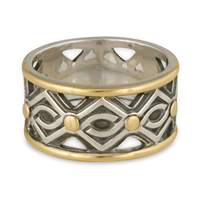 Pictish Ring in 14K Yellow Gold Borders & Center w Sterling Silver Base