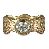 Flow Oval Engagement Ring in 14K Yellow Gold Base w 18K Rose Gold Center