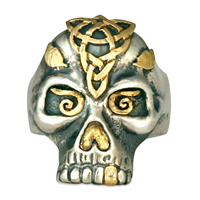Morgan s Skull Ring in 14K Yellow Design/Sterling Base