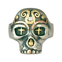 Eva s Skull Ring in 14K Yellow Design/Sterling Base