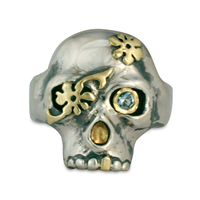 Daisy Skull Ring in 18K Yellow Design/Sterling Base