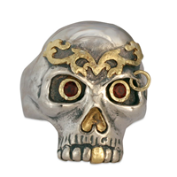 Bjorn s Skull Ring in 18K Yellow Design/Sterling Base