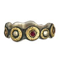Wemple Ring with Rubies in 18K Yellow Gold Design w Sterling Silver Base