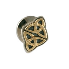 Vedic Tie Tack in 14K Yellow Gold Design w Sterling Silver Base