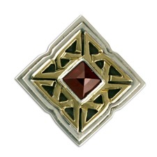 Celtic Corners Button Cover in 14K Yellow Gold Design w Sterling Silver Base