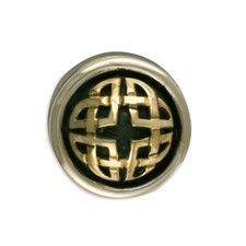 Interlace Button Cover in 14K Yellow Gold Design w Sterling Silver Base