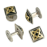 Celtic Star Tuxedo Studs in 14K Yellow Gold Design w Sterling Silver Base